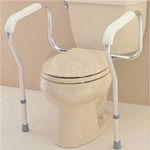 Toilet Safety Frame - The toilet safety rails have a one piece mounting design for eas